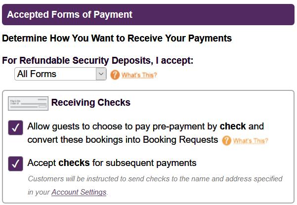 Vacation Rental Accept Checks, Vacation Rental Pay By Check Setup