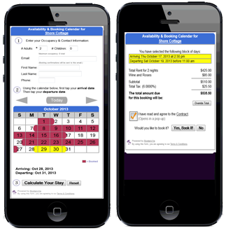 Mobile Availability Booking Calendar