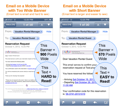Image showing emails on mobile devices that have long headers and short headers. Long headers make the email text smaller and harder to read. Short headers make the text larger and easier to read.